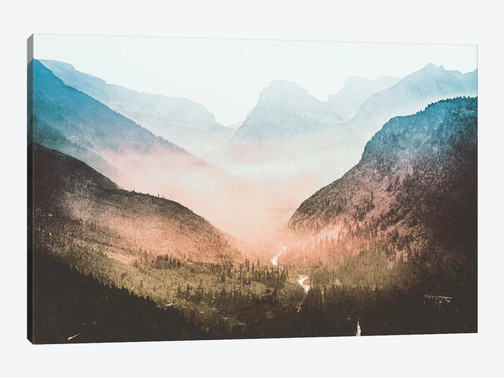 Blue Sunrise Mountain Adventure And Nature Retro Vintage Foggy Forest Dawn At Glacier National Park I by Nature Magick 1-piece Canvas Art Print