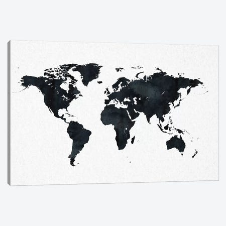 World Map In Black And White Minimalist Earth On Canvas Print #MGK195} by Nature Magick Canvas Print