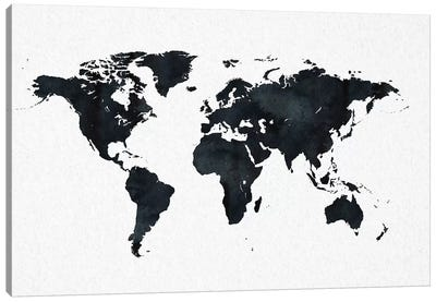 World Map In Black And White Canvas Art Print