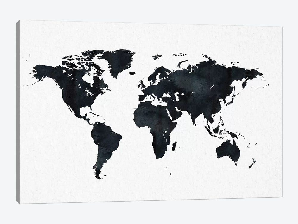 image regarding World Map Printable Black and White titled World wide Map In just Black And White Artwork Print by way of Character Magick iCanvas