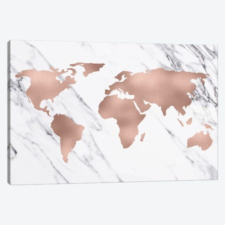 World Map In Rose Gold Pink Metallic On Black And White Marble Fashion Adventure Travel Canvas Print #MGK196} by Nature Magick Art Print