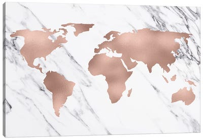 World Map In Rose Gold Canvas Art Print