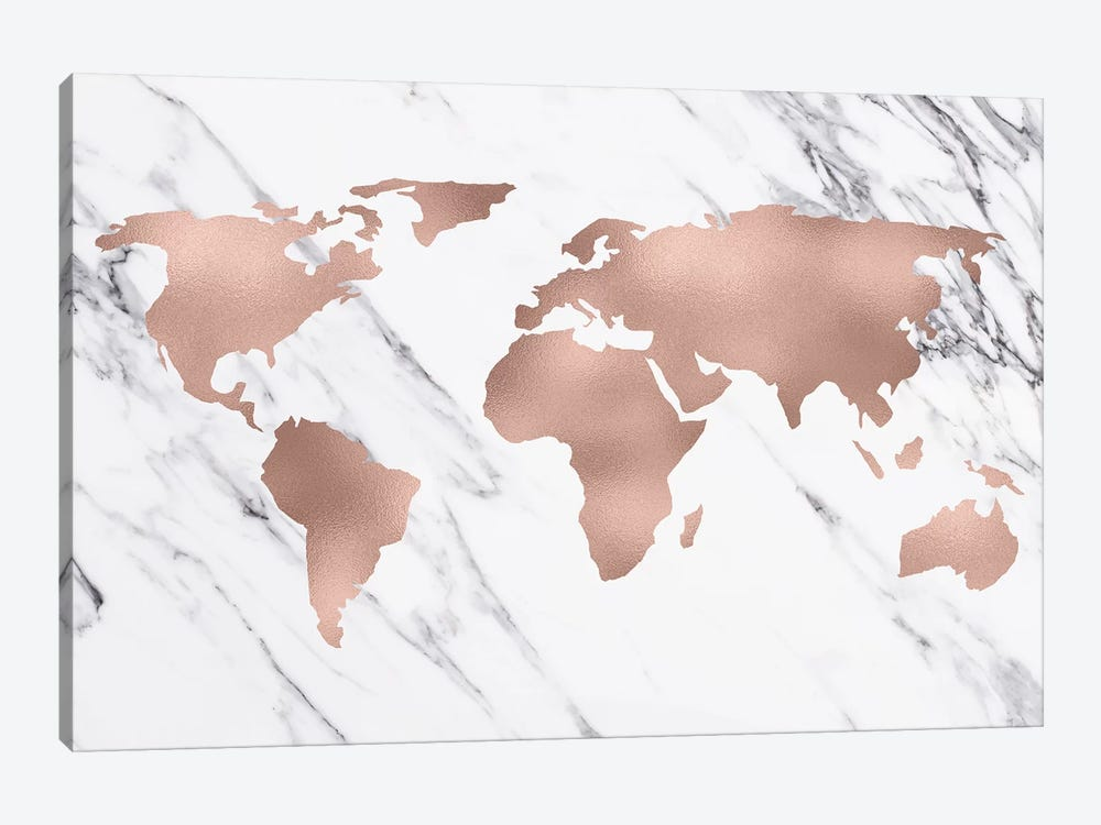 World Map In Rose Gold by Nature Magick 1-piece Canvas Wall Art