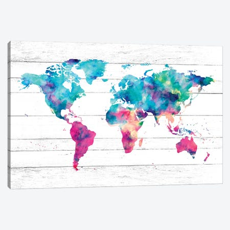 World Map Pink And Turquoise Rainbow Watercolor Paint On Rustic White Wood Canvas Print #MGK197} by Nature Magick Art Print