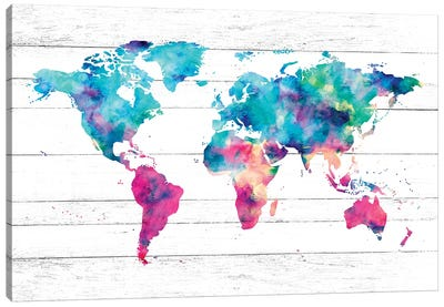 World Map Pink And Turquoise Canvas Art Print