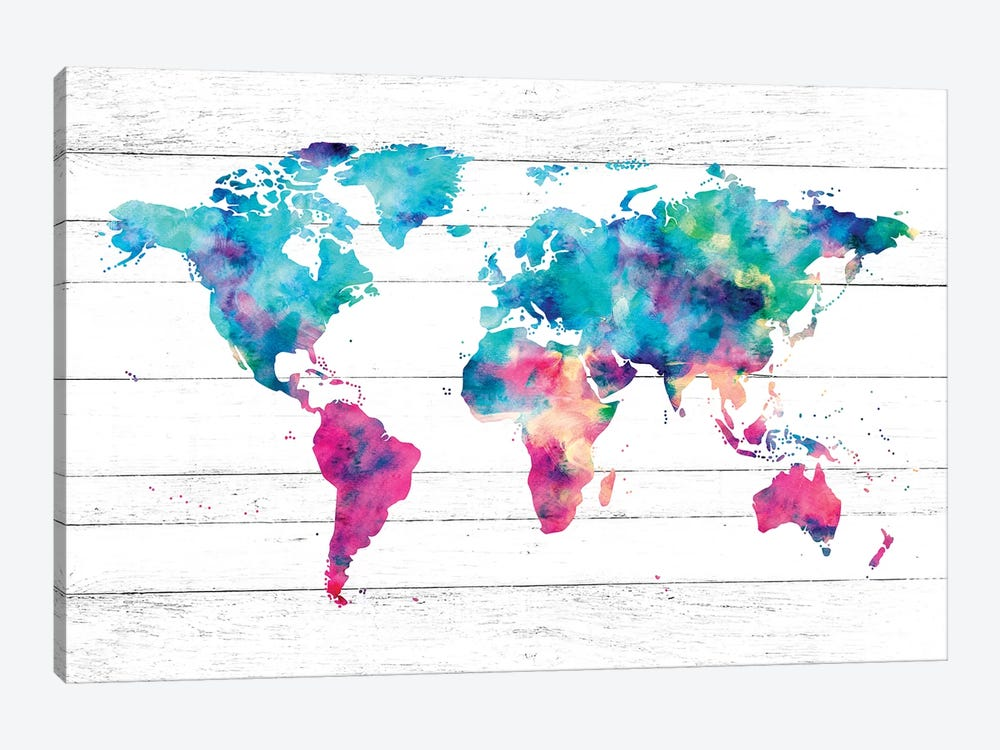 World Map Pink And Turquoise Rainbow Watercolor Paint On Rustic White Wood 1-piece Art Print