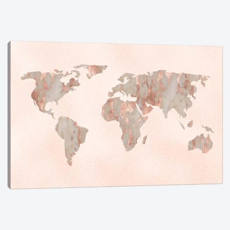World Map Rose Gold Canvas Print #MGK198} by Nature Magick Canvas Art
