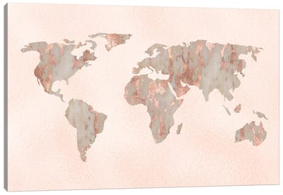 World Map Rose Gold Canvas Art Print