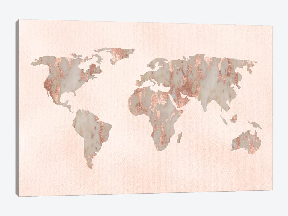 World Map Rose Gold Pastel Pink Marble On Pink Quartz Travel Fashion Globe by Nature Magick 1-piece Canvas Wall Art