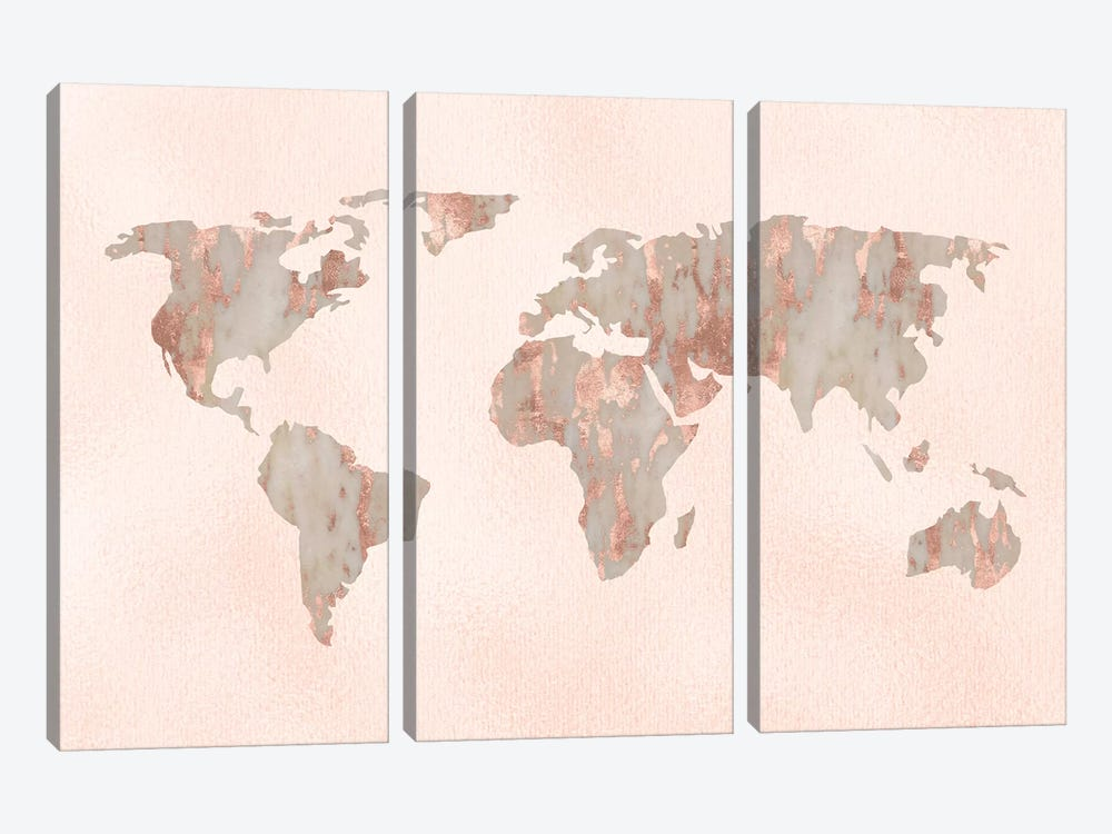 World Map Rose Gold Pastel Pink Marble On Pink Quartz Travel Fashion Globe by Nature Magick 3-piece Canvas Artwork