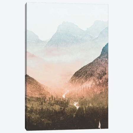 Blue Sunrise Mountain Adventure And Nature Retro Vintage Foggy Forest Dawn At Glacier National Park II Canvas Print #MGK19} by Nature Magick Art Print
