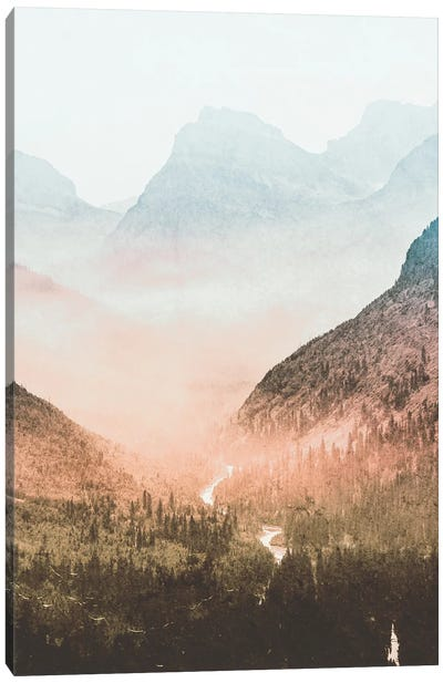 Blue Sunrise Mountain Adventure And Nature Retro Vintage Foggy Forest Dawn At Glacier National Park II Canvas Art Print
