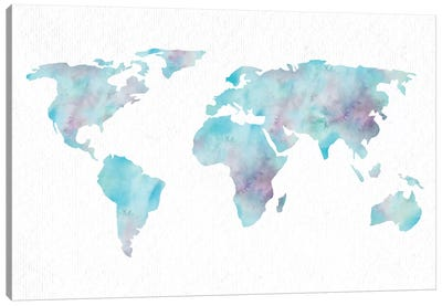 World Travel Map Ocean Blue Canvas Art Print