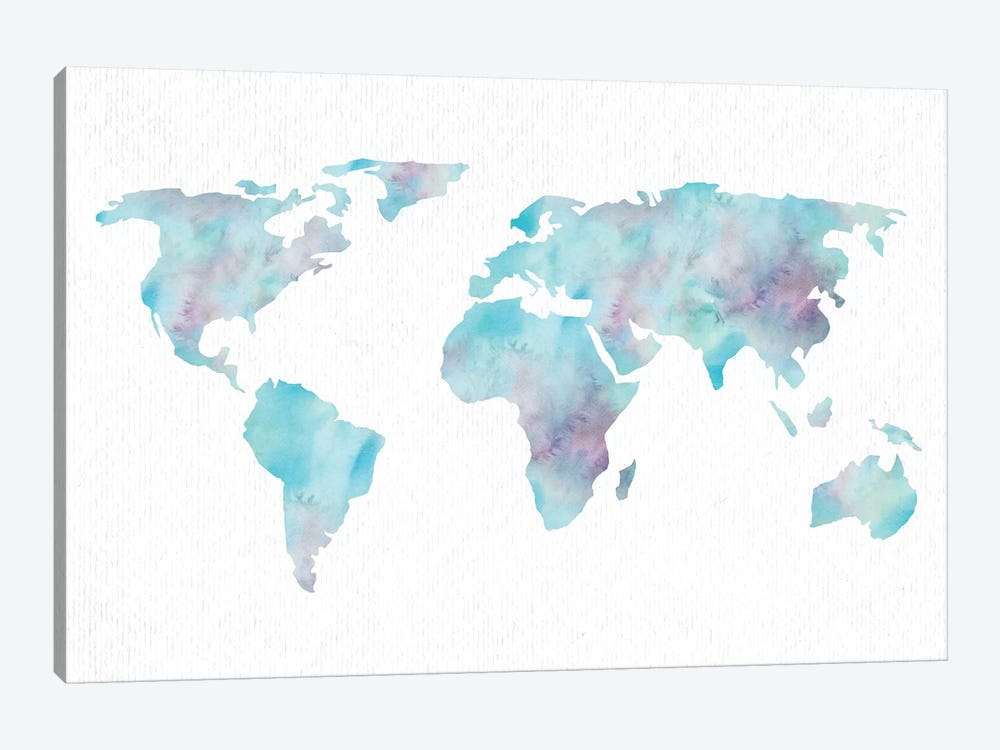 World Travel Map Ocean Blue Pink And Turquoise On White by Nature Magick 1-piece Canvas Print