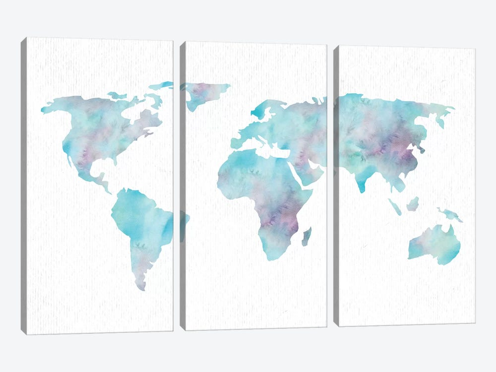 World Travel Map Ocean Blue Pink And Turquoise On White by Nature Magick 3-piece Canvas Art Print