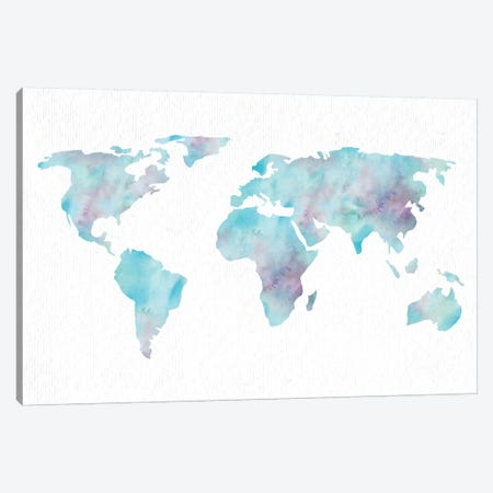 World Travel Map Ocean Blue Canvas Print #MGK200} by Nature Magick Canvas Art