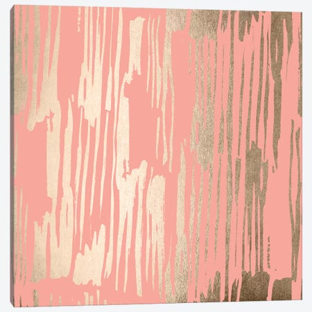 Abstract Modern Gold Brush on Blush Pink 3-Piece Canvas #MGK204} by Nature Magick Art Print