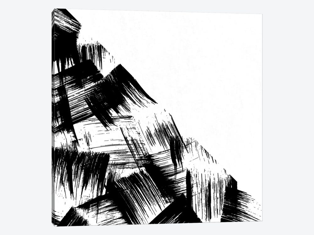 Abstract Modern Minimal Brush Stroke Black and White by Nature Magick 1-piece Canvas Art