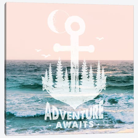 Adventure Awaits Anchor In Pastel Ocean Sky Canvas Print #MGK206} by Nature Magick Canvas Print