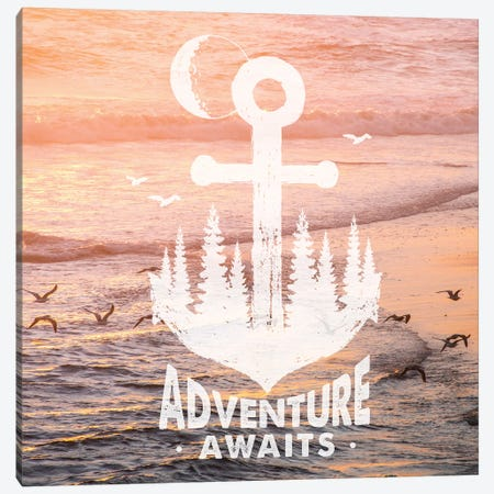 Adventure Awaits Anchor In Seagull Sunset Canvas Print #MGK207} by Nature Magick Art Print