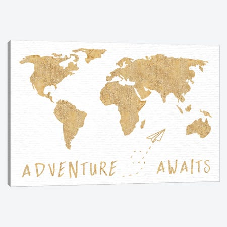 Adventure Awaits Map Metallic Gold Canvas Print #MGK208} by Nature Magick Canvas Artwork