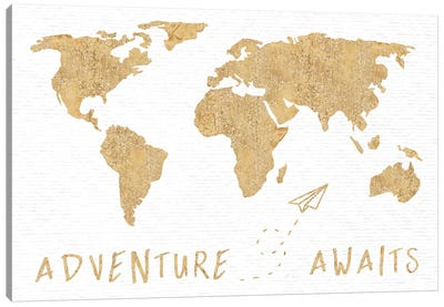 Adventure Awaits Map Metallic Gold Canvas Art Print