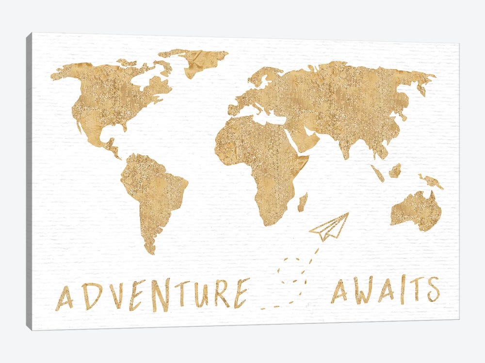 Adventure Awaits Map Metallic Gold by Nature Magick 1-piece Art Print