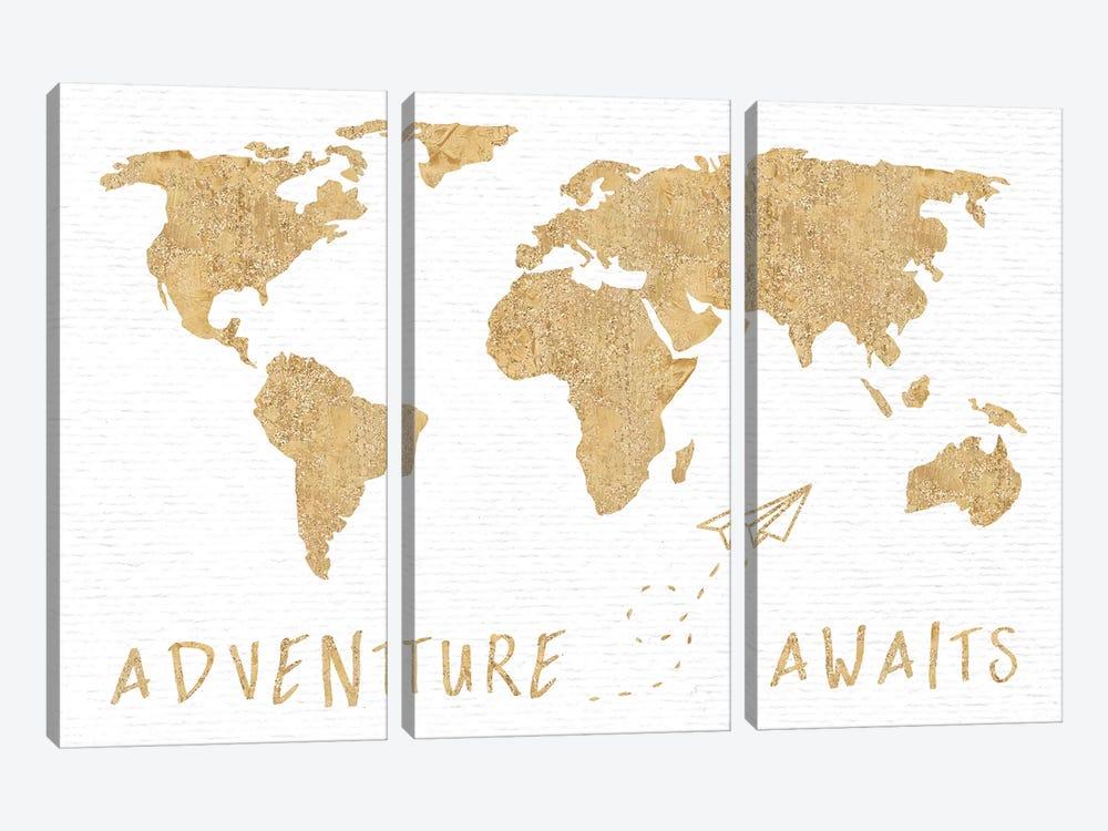 Adventure Awaits Map Metallic Gold by Nature Magick 3-piece Canvas Art Print