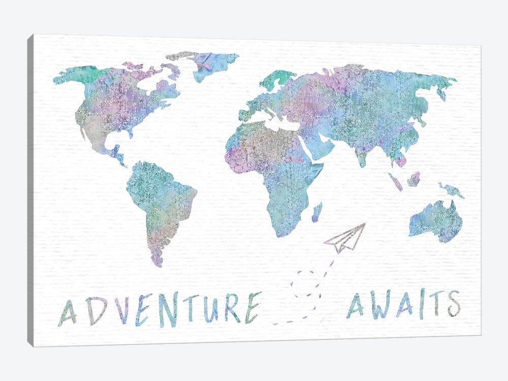 Adventure Awaits Map Metallic Rainbow by Nature Magick 1-piece Canvas Wall Art