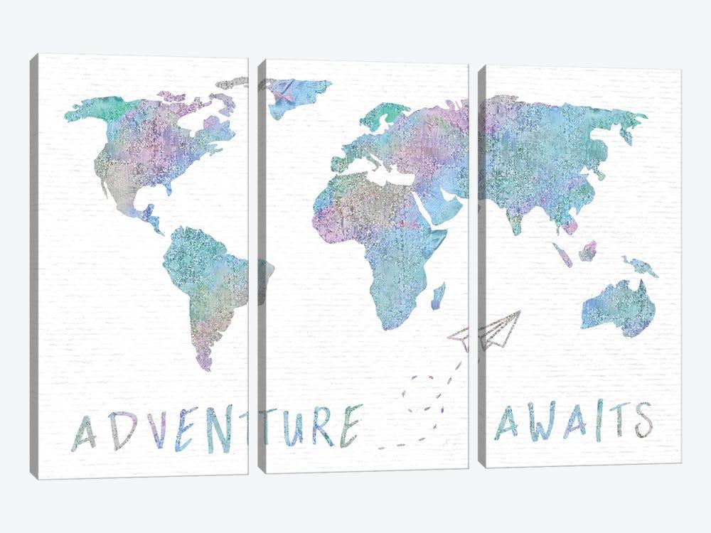 Adventure Awaits Map Metallic Rainbow by Nature Magick 3-piece Canvas Art
