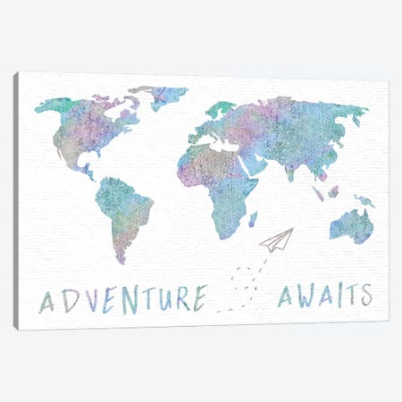 Adventure Awaits Map Metallic Rainbow Canvas Print #MGK209} by Nature Magick Canvas Artwork