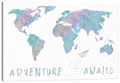 Adventure Awaits Map Metallic Rainbow Canvas Art Print
