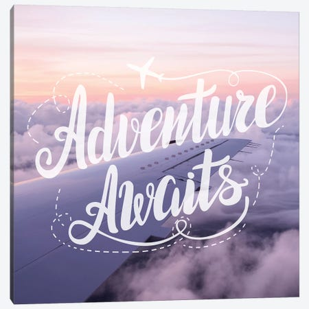 Adventure Awaits In Airplane Over Clouds Canvas Print #MGK211} by Nature Magick Art Print
