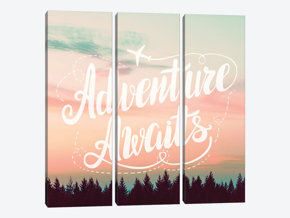 Adventure Awaits In Forest Sunset by Nature Magick 3-piece Canvas Wall Art