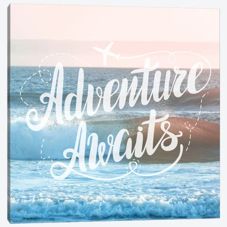 Adventure Awaits In Pink Ocean Sunset Canvas Print #MGK215} by Nature Magick Canvas Wall Art