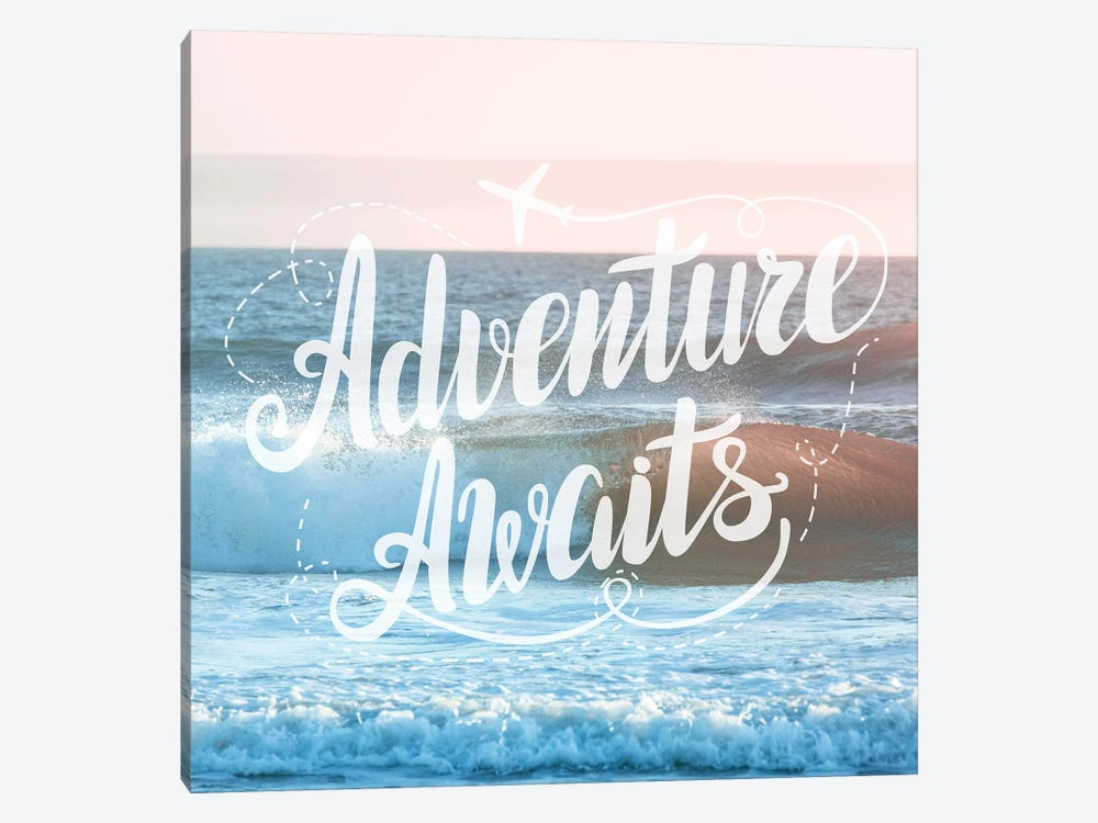 Adventure Awaits In Pink Ocean Sunset by Nature Magick 1-piece Canvas Art Print
