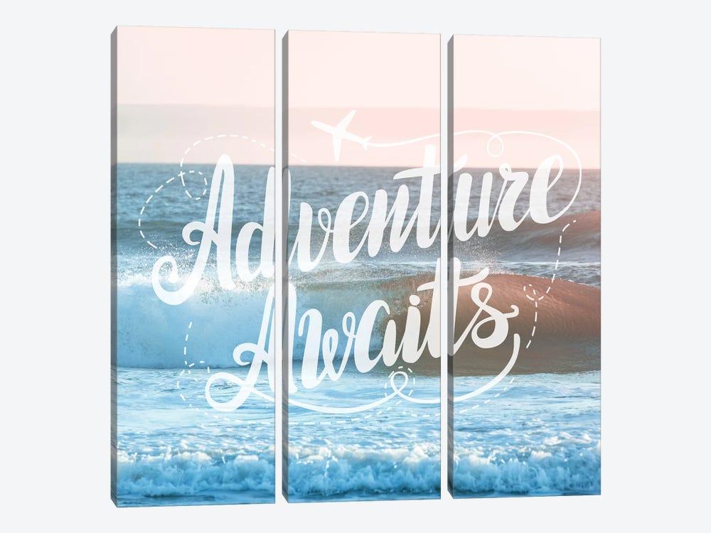 Adventure Awaits In Pink Ocean Sunset by Nature Magick 3-piece Canvas Art Print