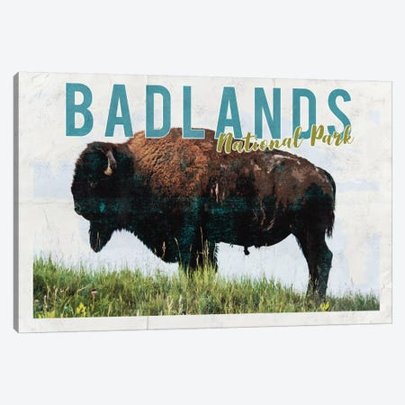 Badlands National Park Vintage Adventure Postcard 3-Piece Canvas #MGK225} by Nature Magick Canvas Print