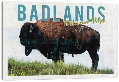 Badlands National Park Vintage Adventure Postcard Canvas Art Print