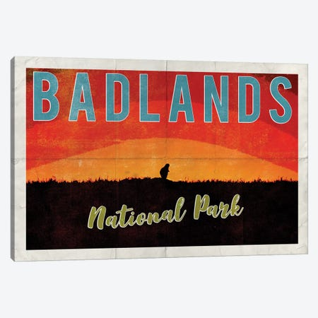 Badlands National Park Vintage Adventure Prairie Dog Sunrise Postcard Canvas Print #MGK226} by Nature Magick Canvas Art Print