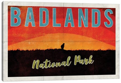 Badlands National Park Vintage Adventure Prairie Dog Sunrise Postcard Canvas Art Print