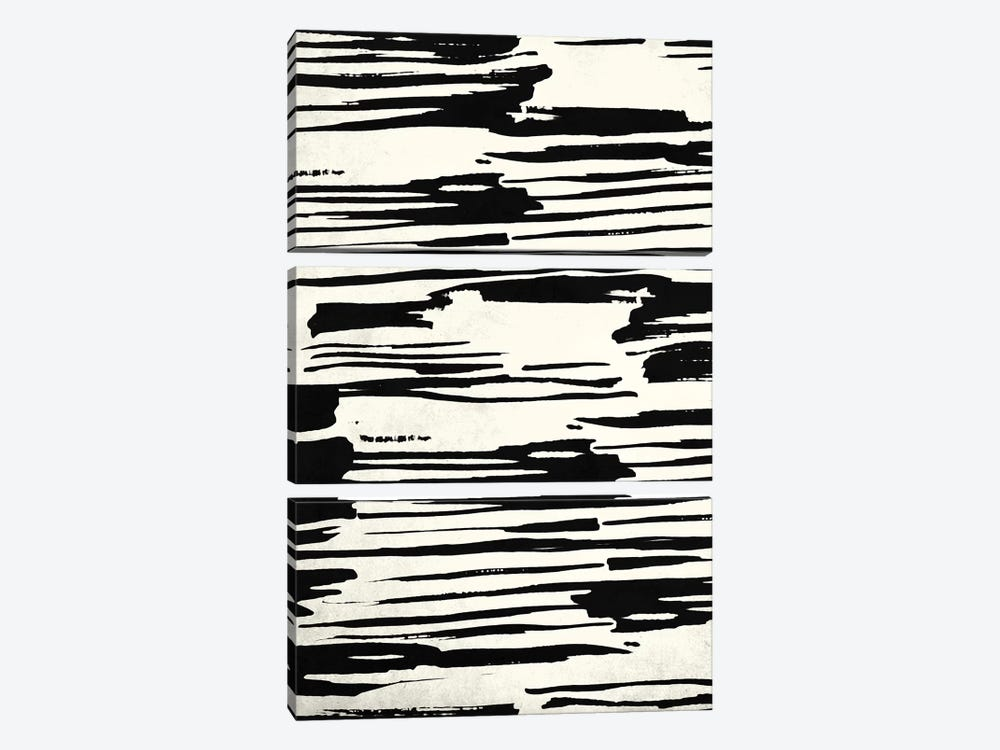 Brush Tribal Striped In Black Stripes On Ivory Bone Cream by Nature Magick 3-piece Art Print