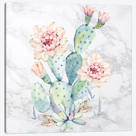 Cactus Floral Watercolor on Marble Canvas Print #MGK250} by Nature Magick Canvas Art Print
