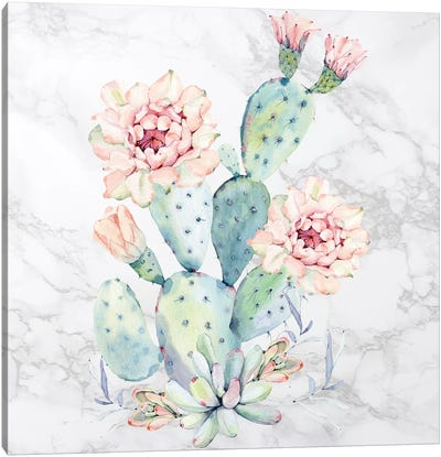 Cactus Floral Watercolor on Marble Canvas Art Print