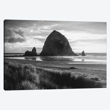 Cannon Beach Oregon Coast Black and White Canvas Print #MGK251} by Nature Magick Art Print
