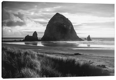 Cannon Beach Oregon Coast Black and White Canvas Art Print