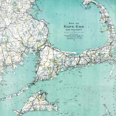 picture relating to Printable Map of Cape Cod known as Cape Cod and Vicinity Map Canvas Wall Artwork via Mother nature Magick iCanvas