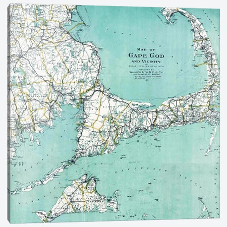 Cape Cod and Vicinity Map Canvas Print #MGK252} by Nature Magick Canvas Art Print