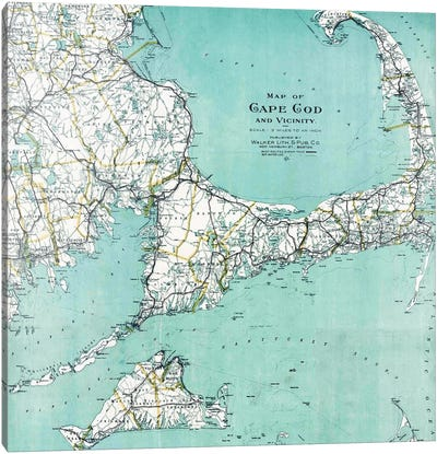 Cape Cod and Vicinity Map Canvas Art Print