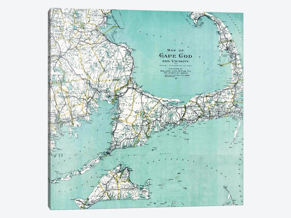 Cape Cod and Vicinity Map by Nature Magick 1-piece Canvas Wall Art